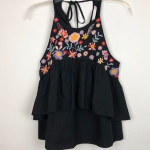 ZARA TRF COLLECTION Black Top Embroidered Size XS